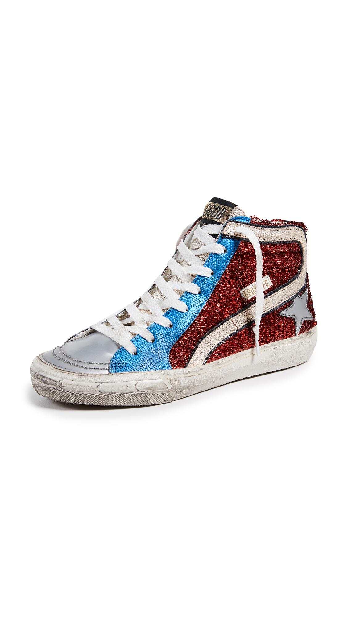 Golden Goose Slide Sneakers - Red/Blue/Gold