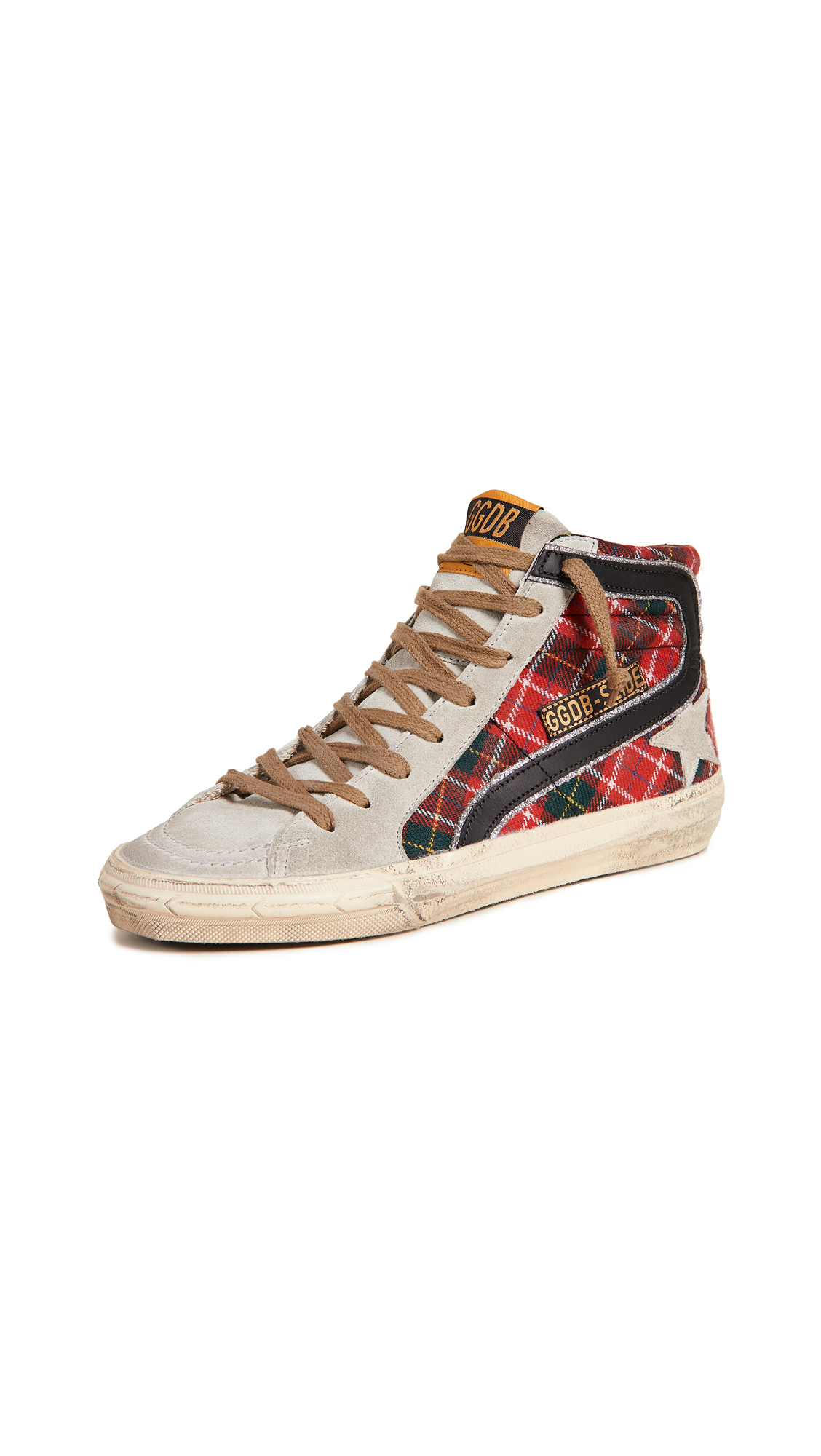 Golden Goose Slide Sneakers - Red Tartan