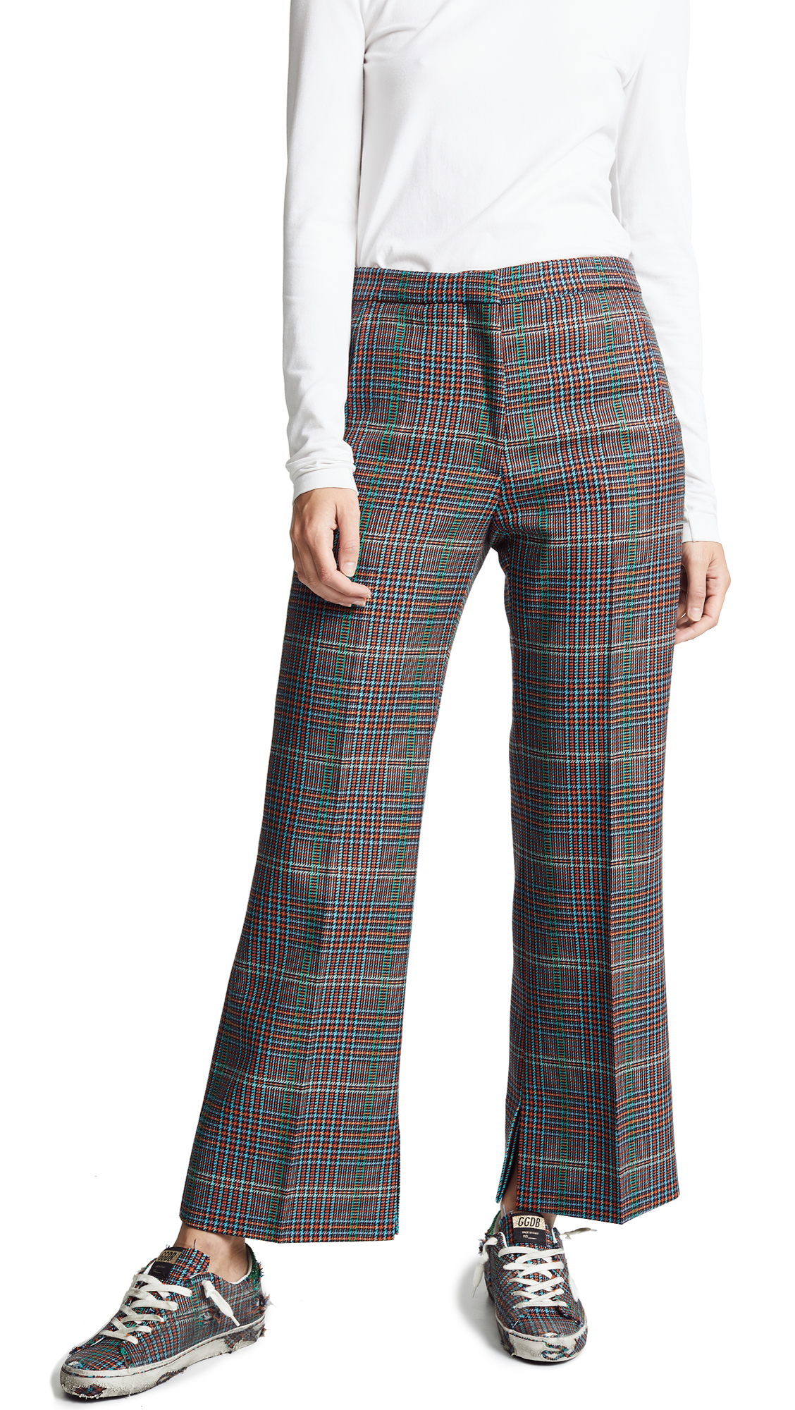 Golden Goose Plaid Rendena Pants In Multi Check