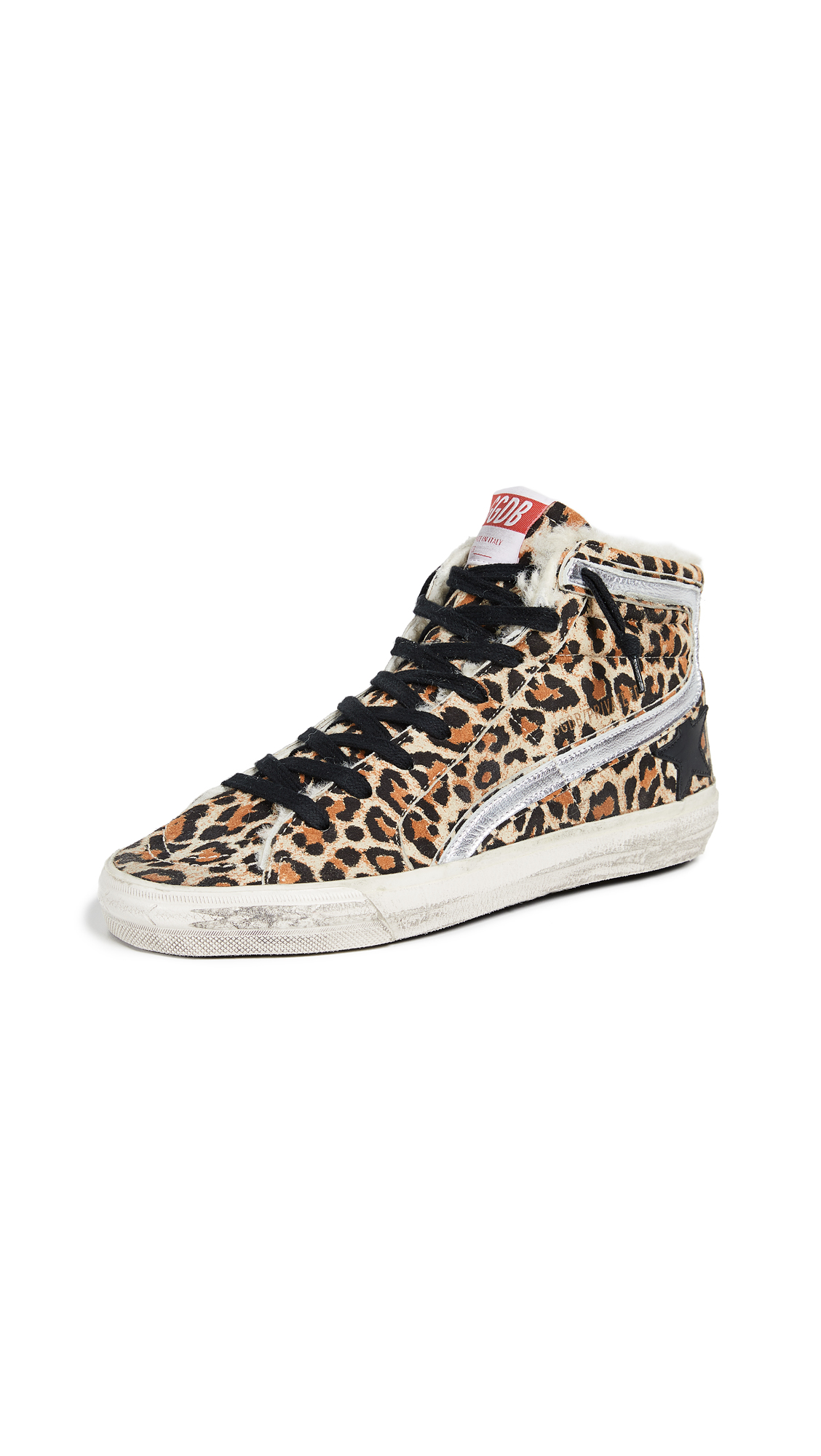 Golden Goose Slide Sneakers - Leopard/Black/Cream
