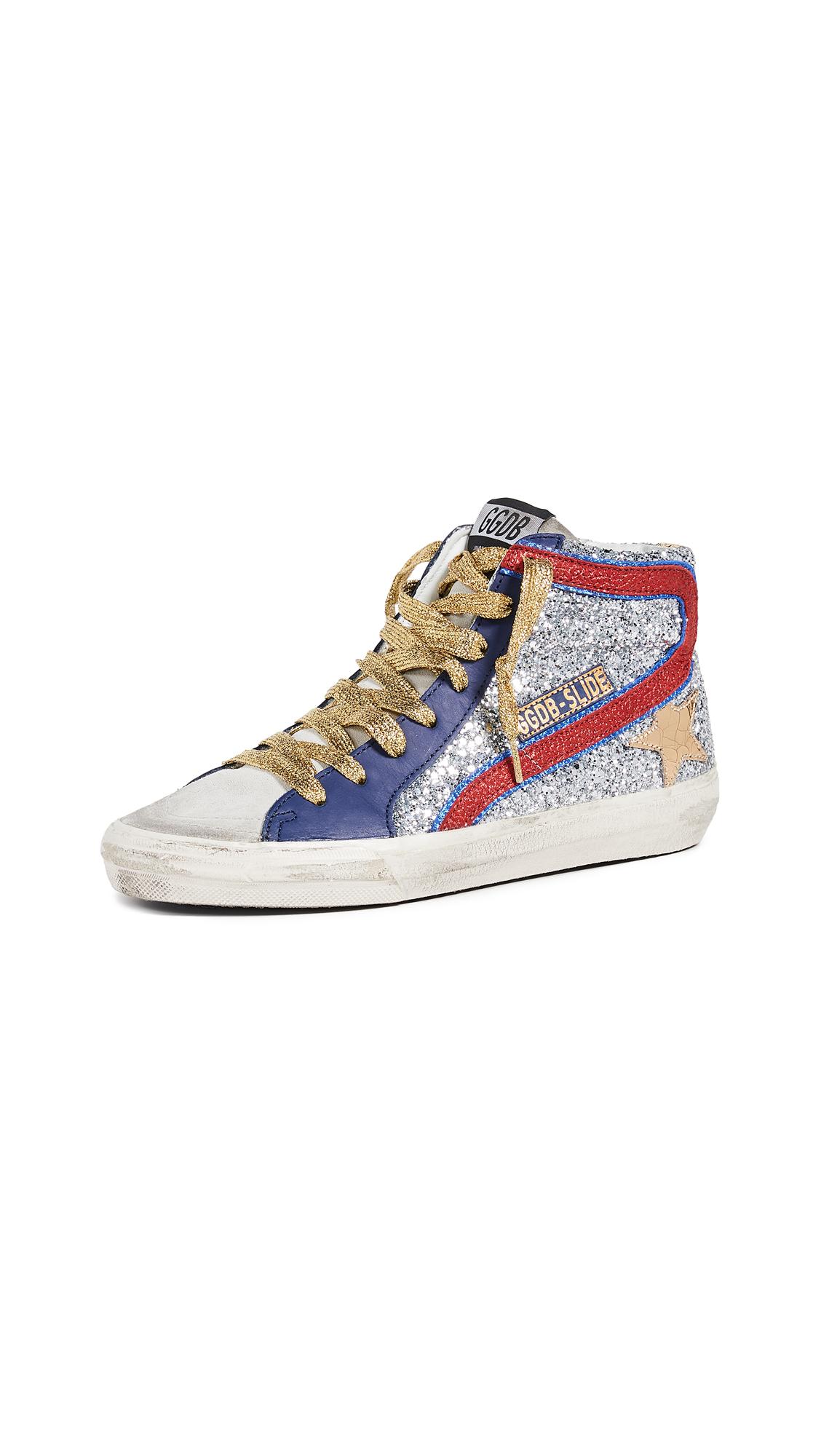 Golden Goose Slide Sneakers - Silver Glitter/Gold