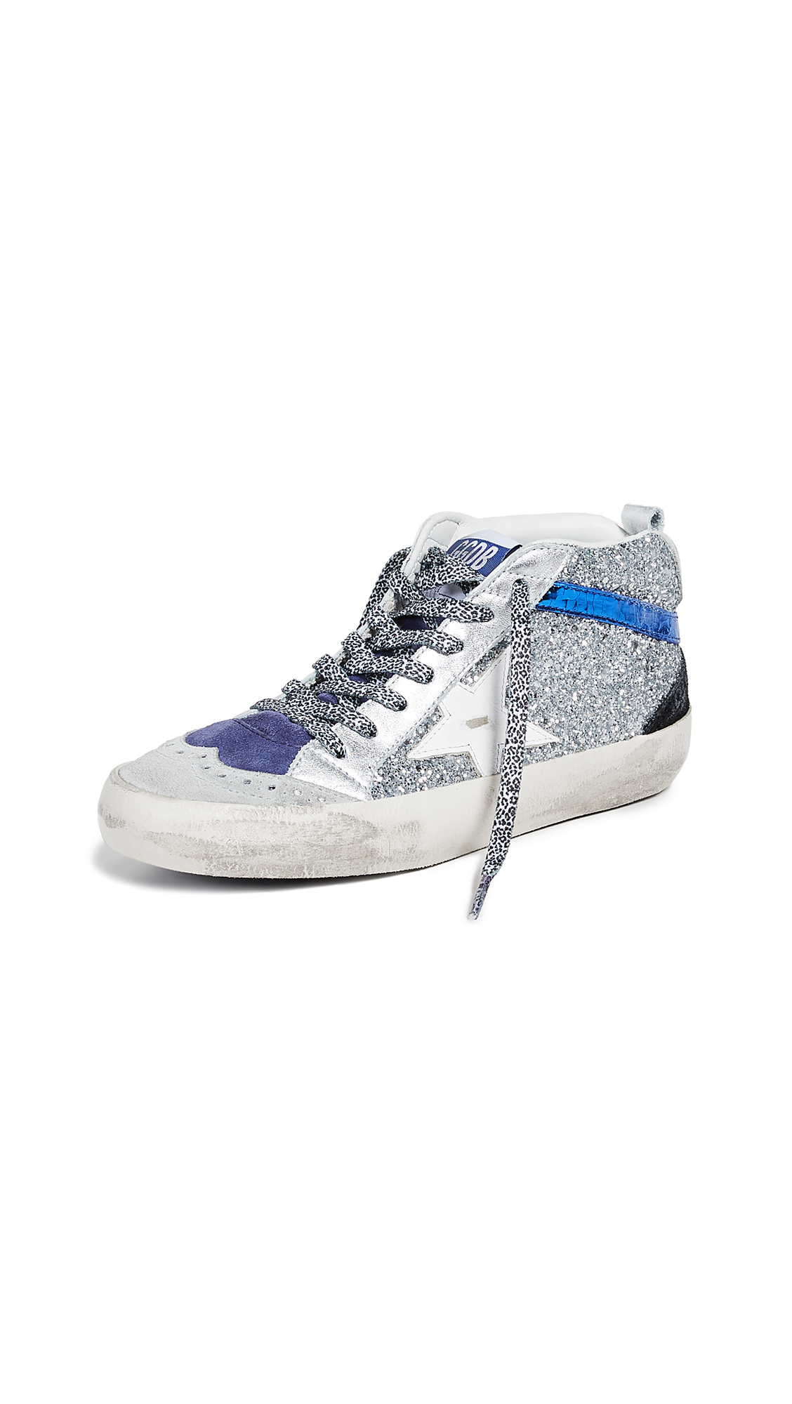 Golden Goose Mid Star Sneakers - Silver Glitter/White