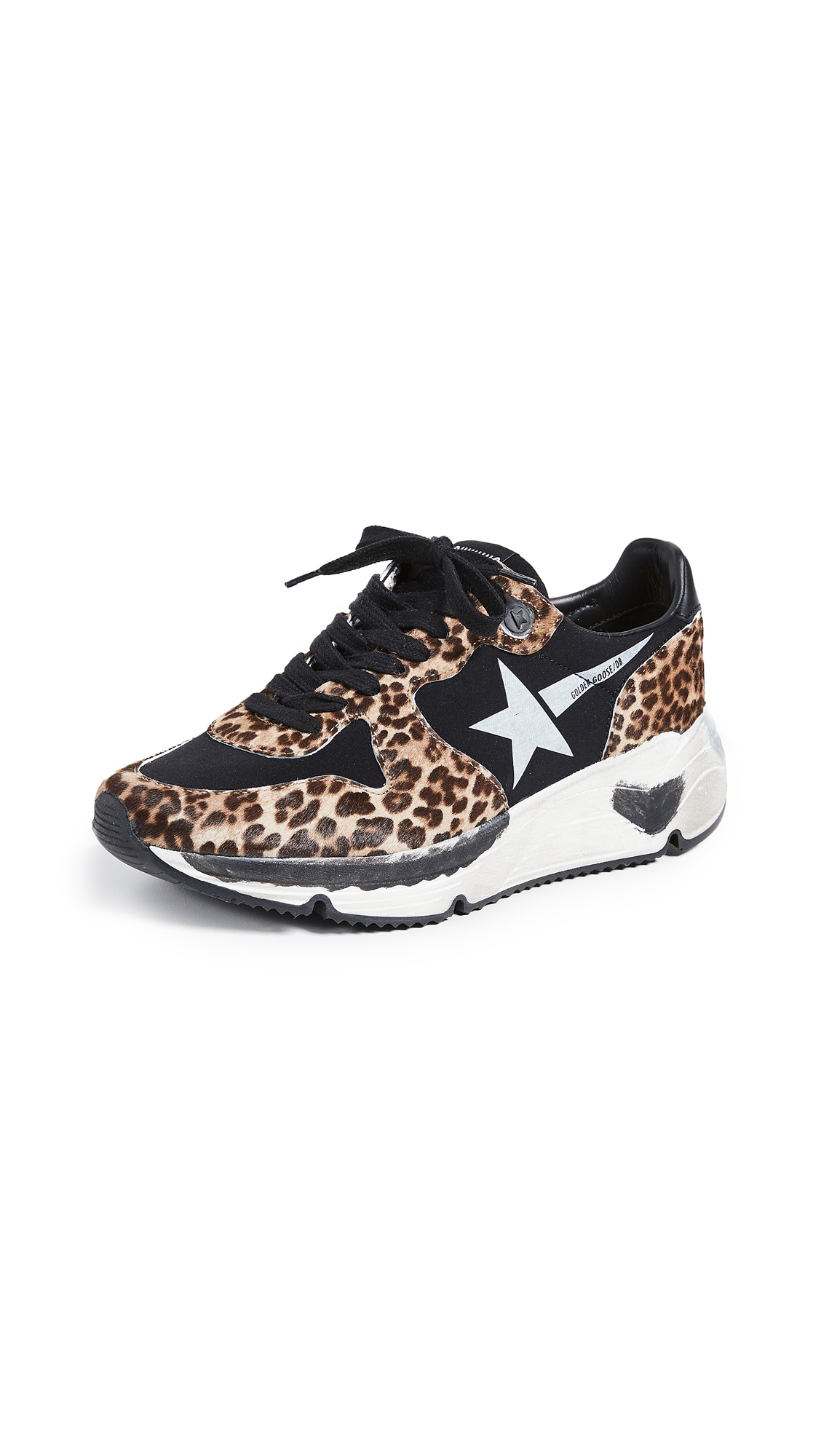 Golden Goose Running Sole Sneakers - Leopard/White