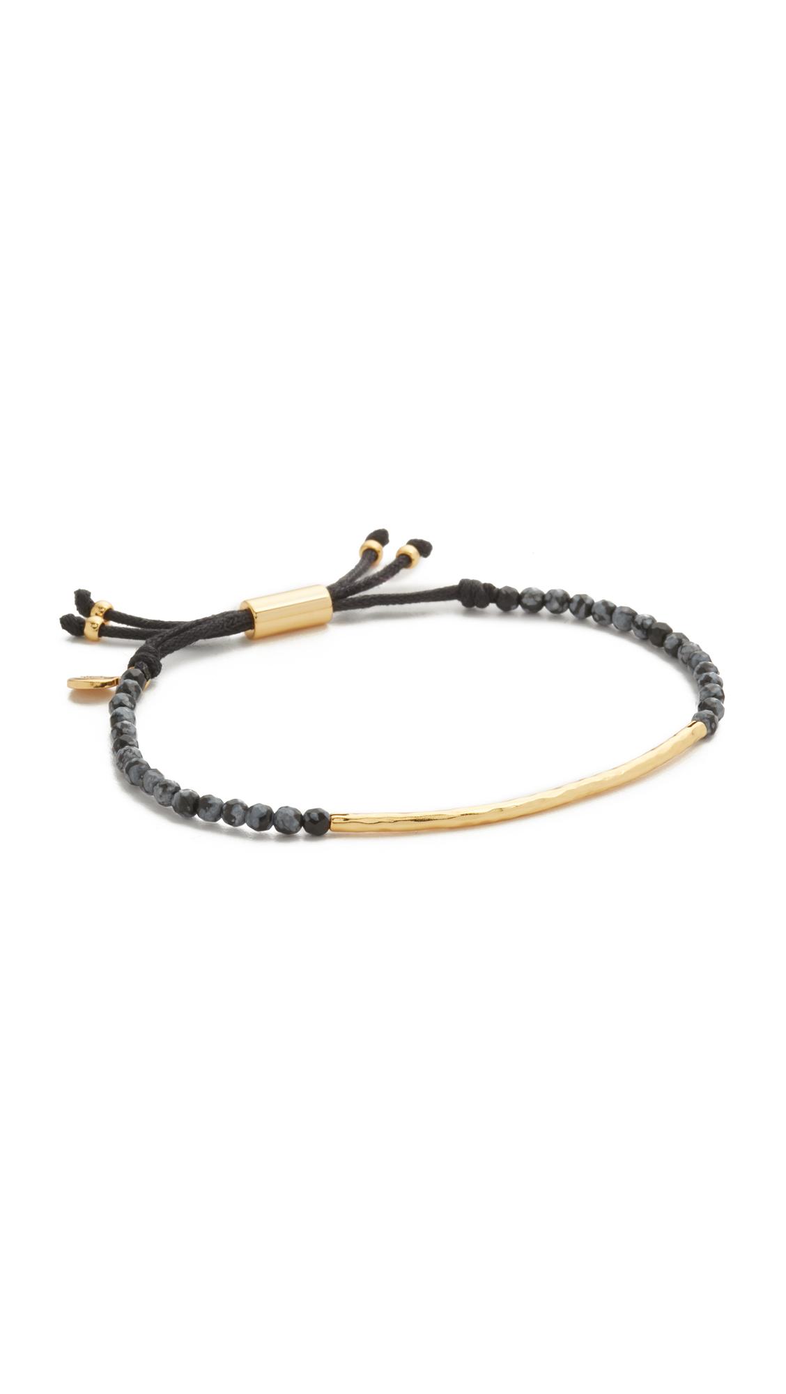 Gorjana Power Gemstone Bracelet for Courage - Gold/Snowflake Obsidian