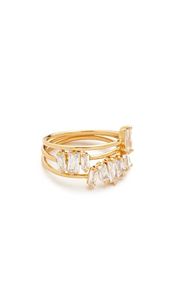 Gorjana Amara Ring Set In White Cz/Gold