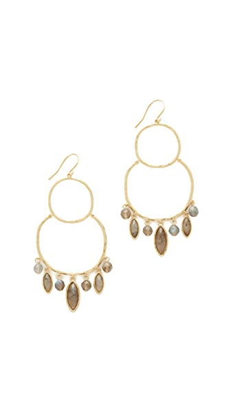 Gorjana Eliza Gemstone Chandelier Earrings - Labradorite/Gold