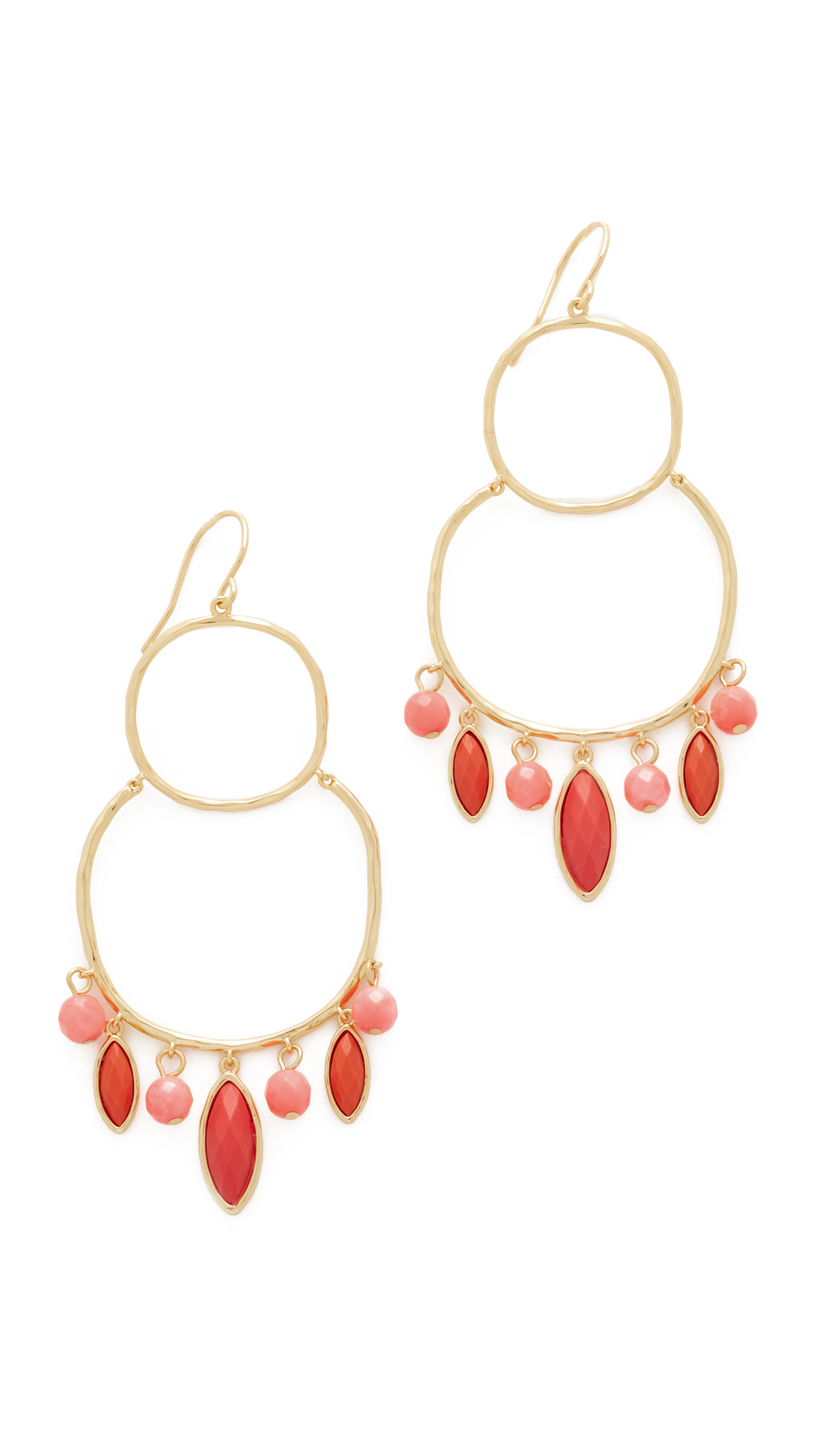Gorjana Eliza Gemstone Chandelier Earrings - Pink Coral/Gold
