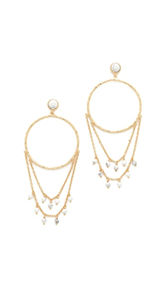 Gorjana Sol Drape Hoop Earrings - Howlite/Gold