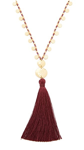Gorjana Leucadia Beaded Tassel Necklace - Wine