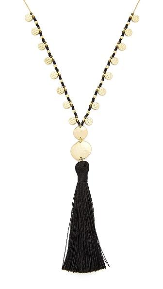 Gorjana Leucadia Beaded Tassel Necklace In Black/Gold