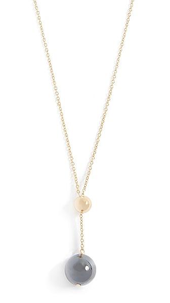 Gorjana Newport Gemstone Adjustable Lariat Necklace In Hematite/Gold