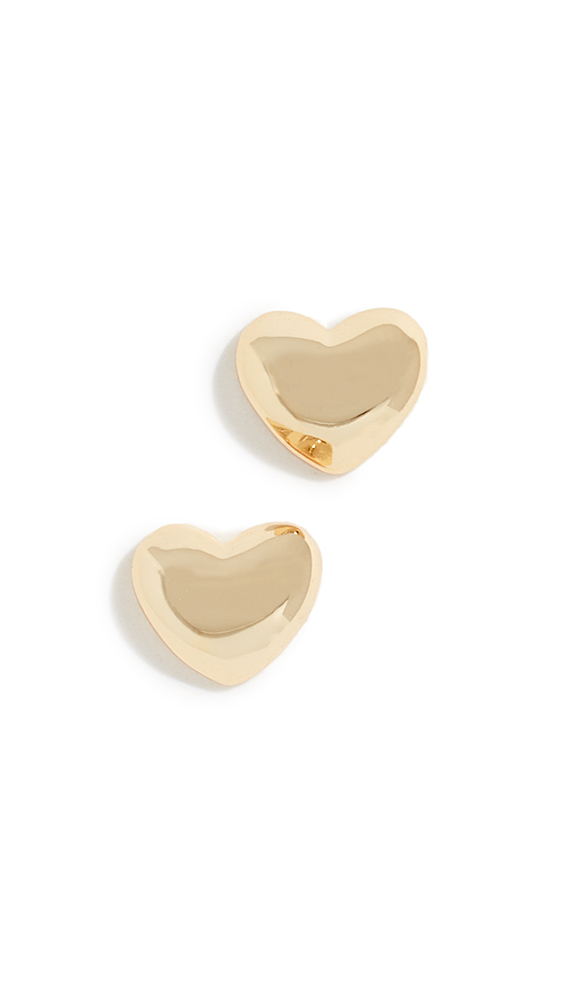 GORJANA Heart Charm Stud Earrings in Yellow Gold