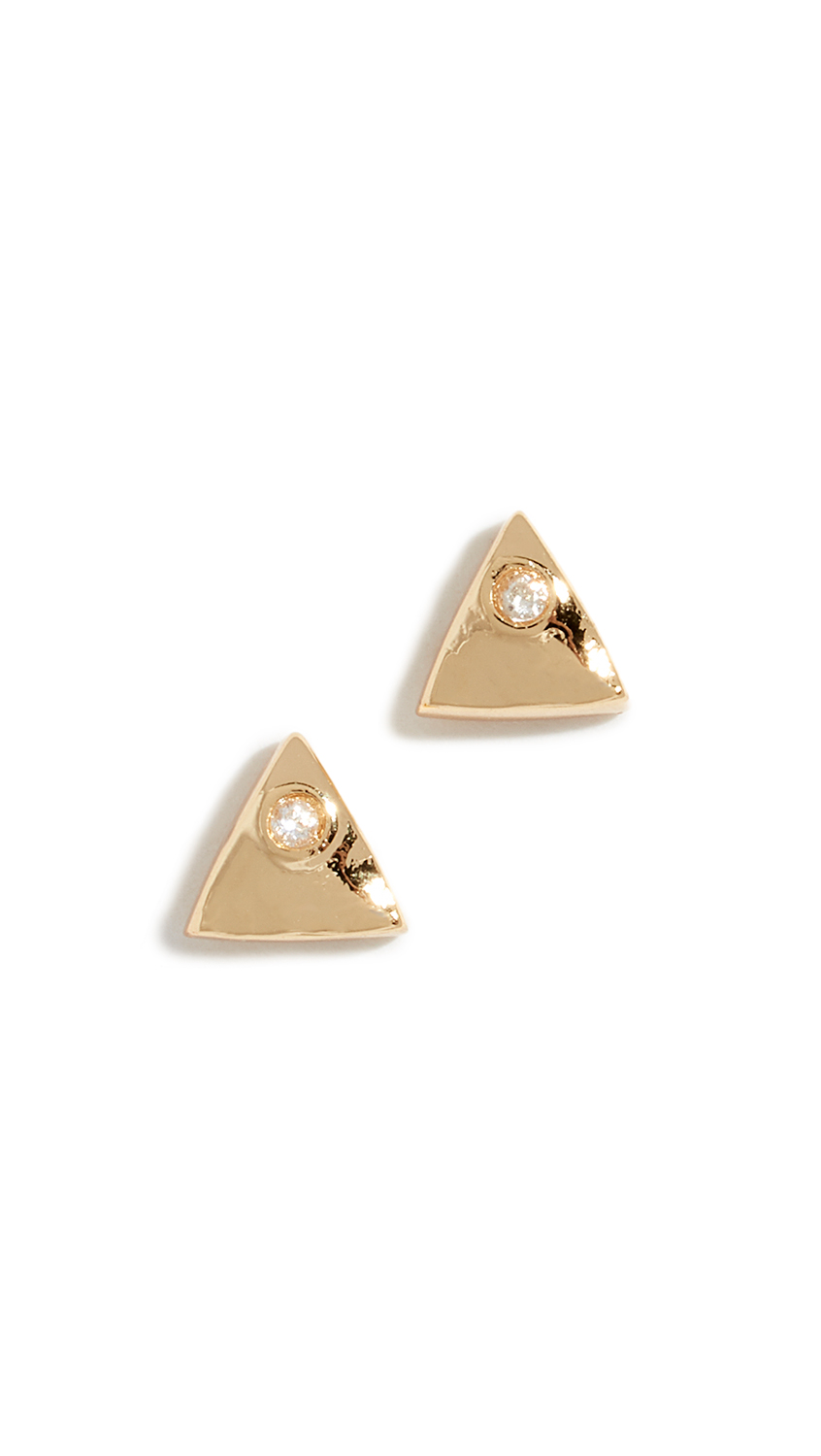 Gorjana Triangle Shimmer Stud Earrings - Yellow Gold
