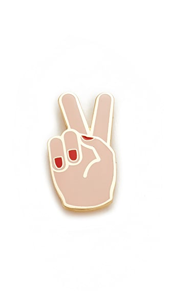 Georgia Perry Peace Hand Lapel Pin In Cream