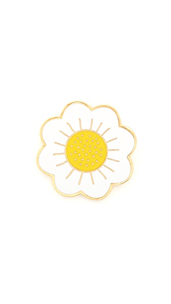 Georgia Perry Daisy Lapel Pin - White/Yellow