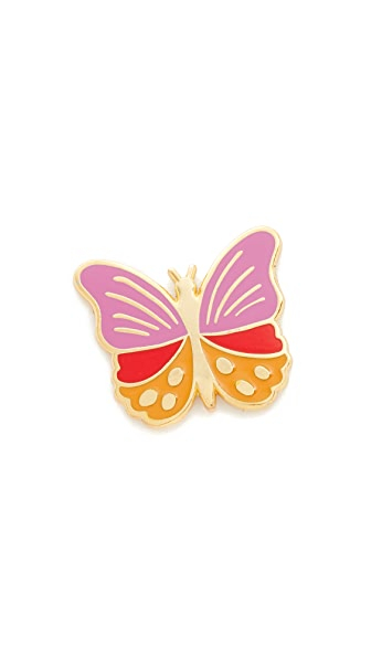 Georgia Perry Butterfly Lapel Pin - Pink