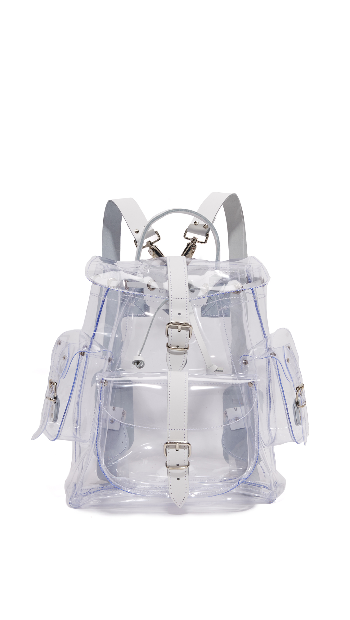 This Grafea backpack made from transparent vinyl and trimmed in sturdy leather. 3 pouch pockets and 1 zip back pocket. Buckle top flap and drawstring top line. Unlined interior. Locker loop and optional, adjustable shoulder straps. Dust bag