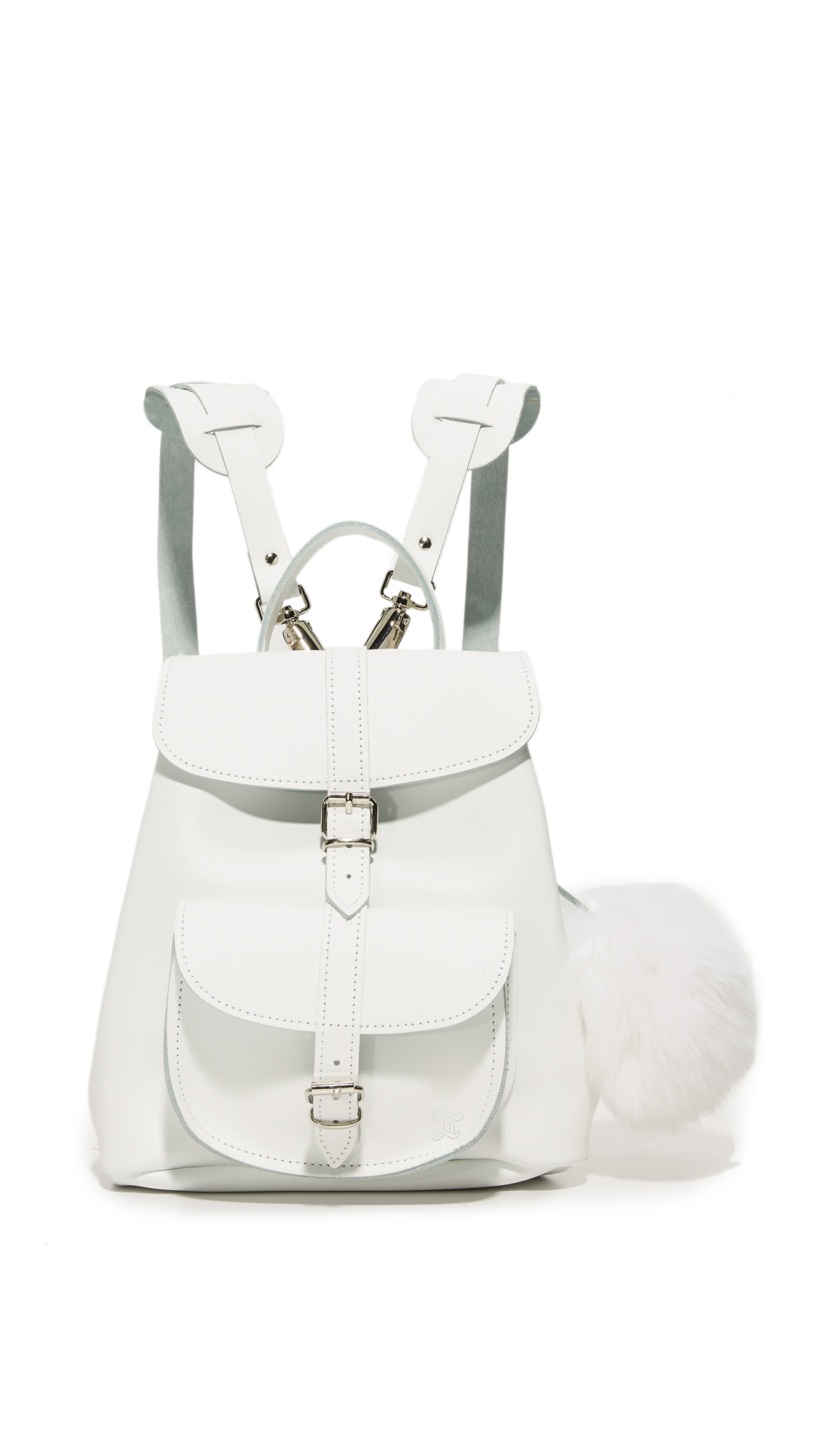 An optional fur pom pom adds a plush touch to this petite Grafea backpack. Pouch front pocket and zip back pocket. A buckle tab fastens the top flap, which opens to an unlined interior. Locker loop