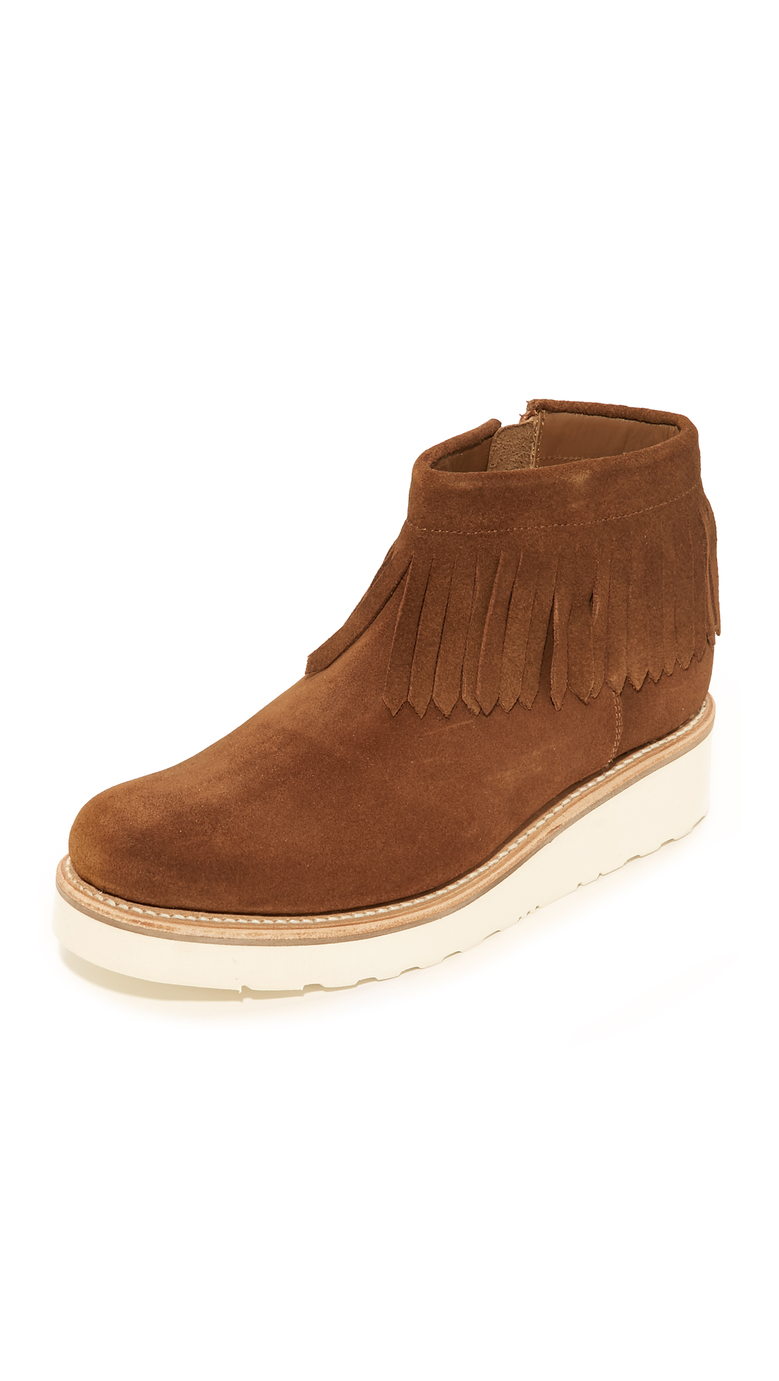 Grenson Trixie Fringe Booties - Snuff