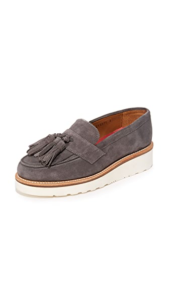 Grenson Clara Tassel Platform Loafers - Charcoal at Shopbop