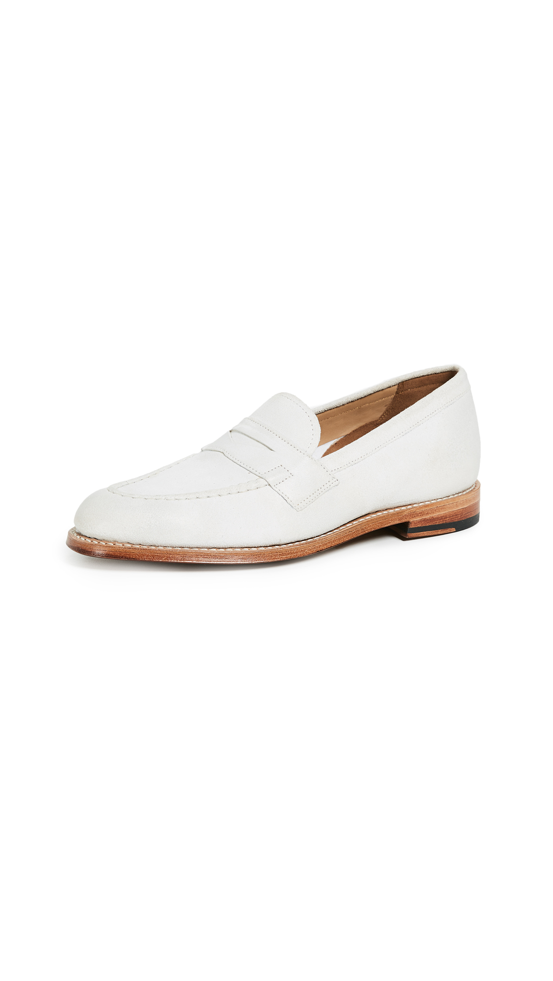 Grenson Fleur Loafers - White Burnishing Suede