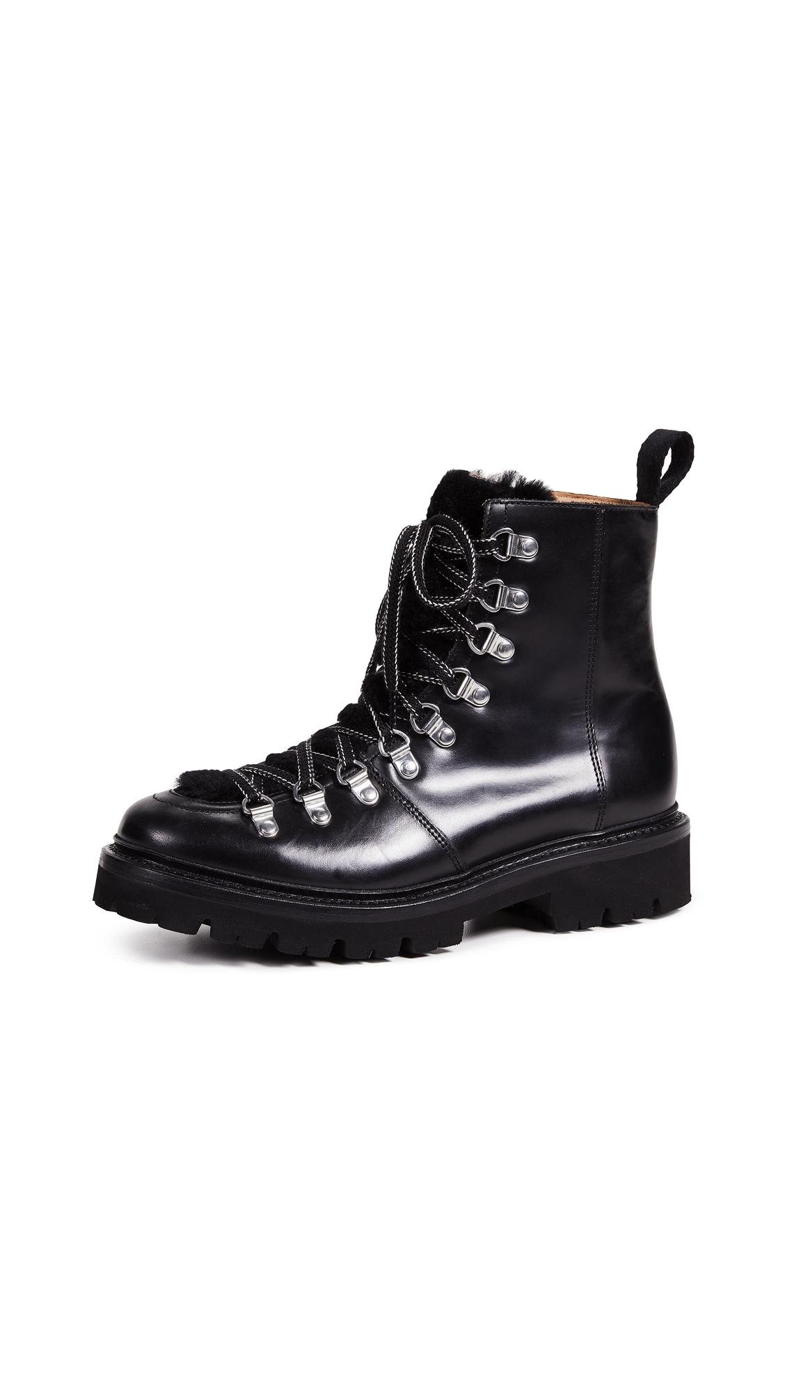Grenson Nanette Combat Boots - Black/Black