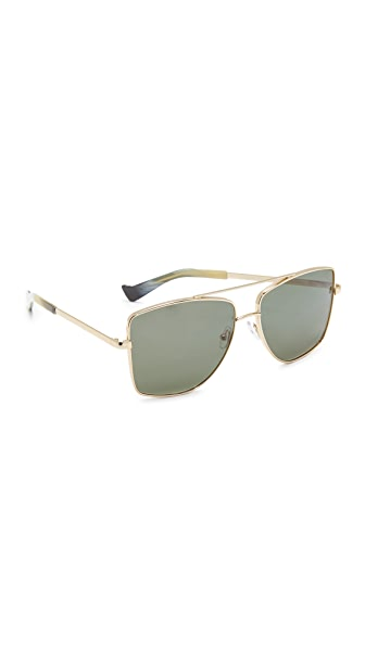 Grey Ant Dempsey Aviator Sunglasses In Gold/Olive
