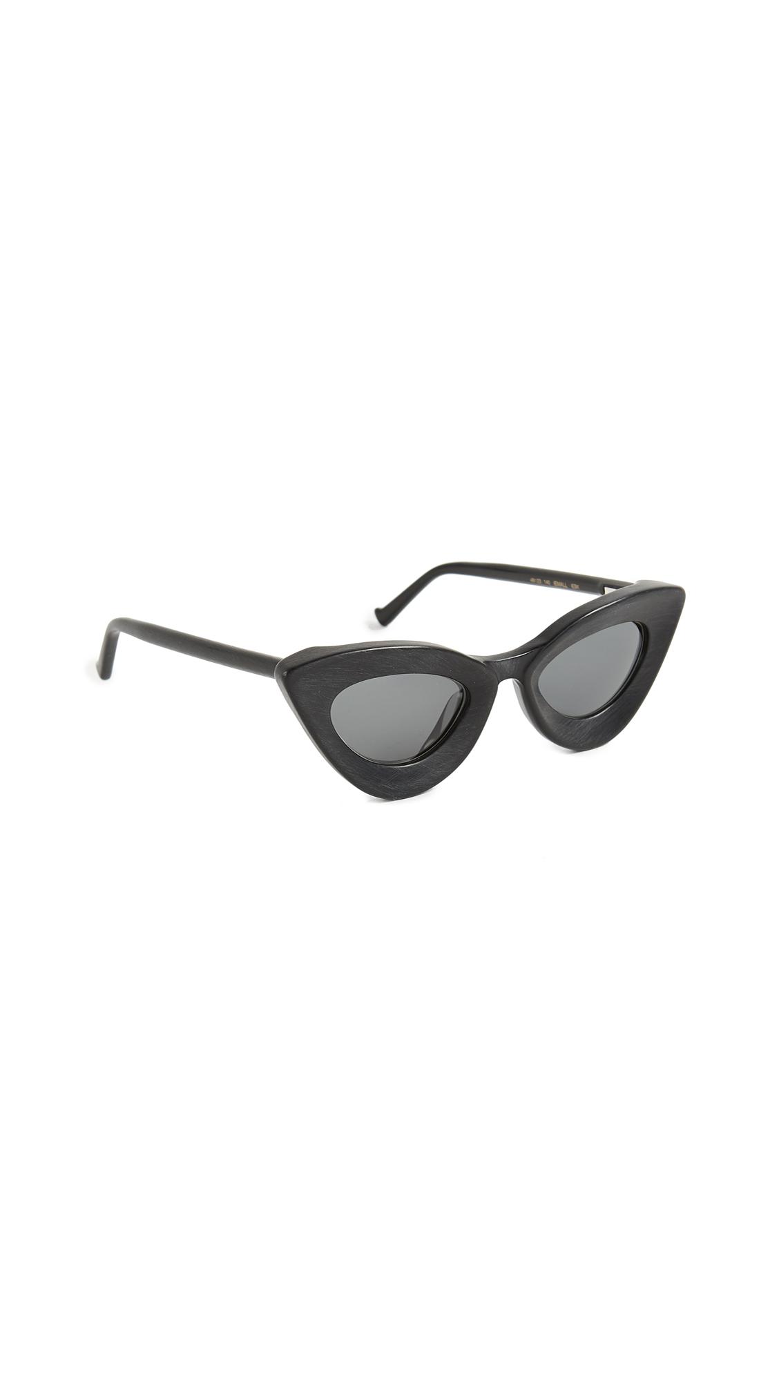 Iemall Cat Eye Sunglasses, Black/Grey