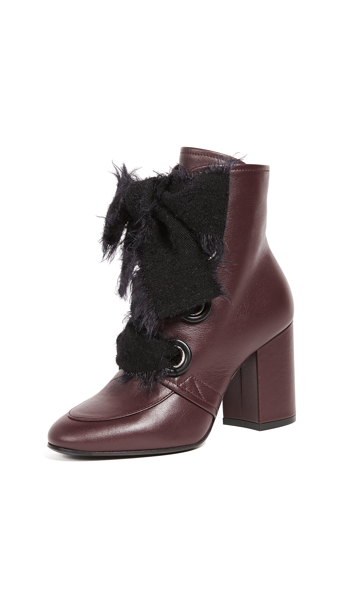 Greymer Lucy Lace Up Booties - Merlot