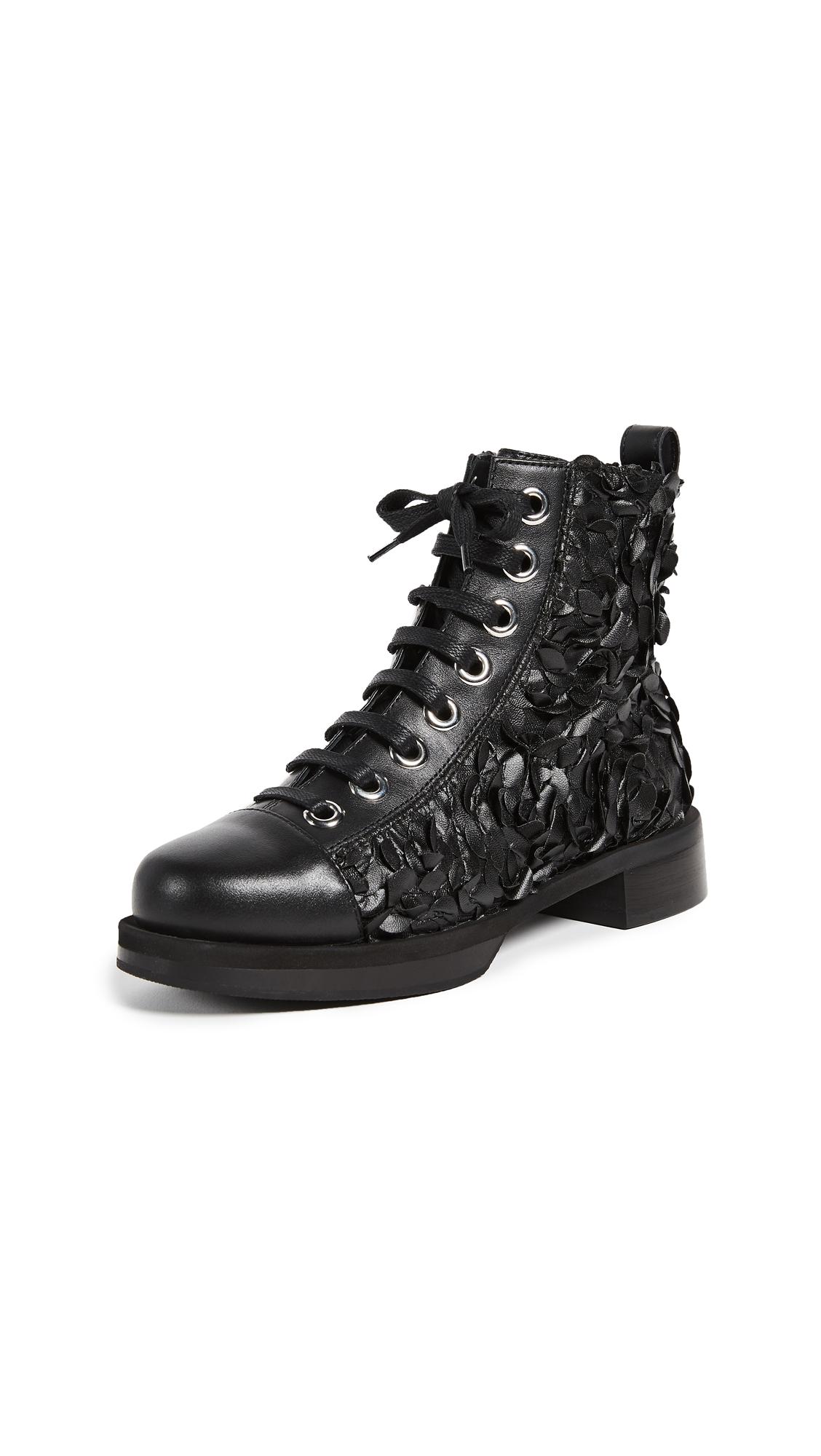 Greymer College Campari Combat Boots - Nero