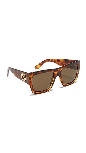 Gucci Gg Emphasis Flat Top Oversized Sunglasses - Light Havana/Brown at Shopbop