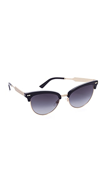 Gucci Damascato Cat Eye Sunglasses - Black/Dark Grey at Shopbop