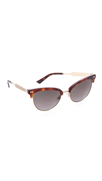Gucci Damascato Cat Eye Sunglasses - Dark Havana/Brown at Shopbop