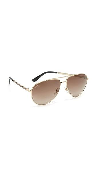 Gucci Vintage Web Aviator Sunglasses - Gold/Brown at Shopbop