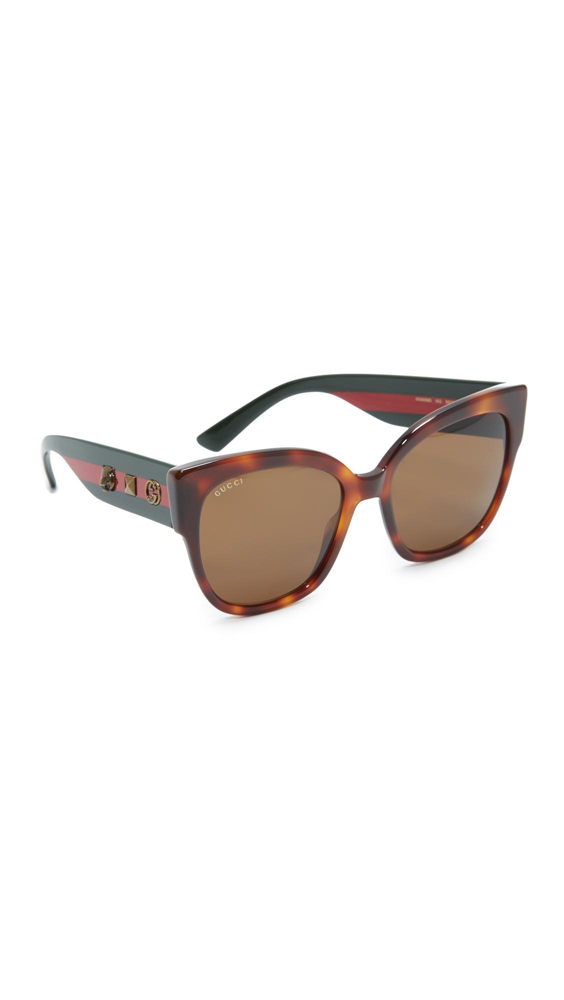 Gucci Oversized Tiger Sunglasses - Havana/Brown at Shopbop