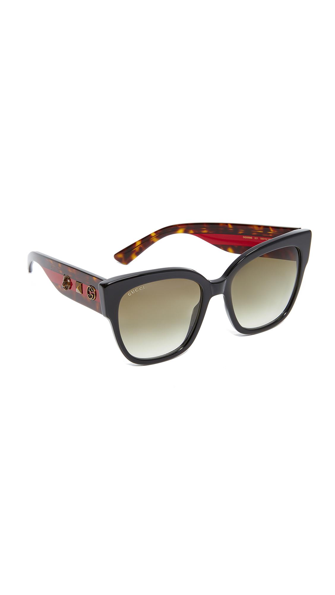 Gucci Oversized Tiger Sunglasses - Black/Green at Shopbop