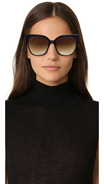 GUCCI Special Edition Oversized Square Sunglasses, Black/Tortoise/Red