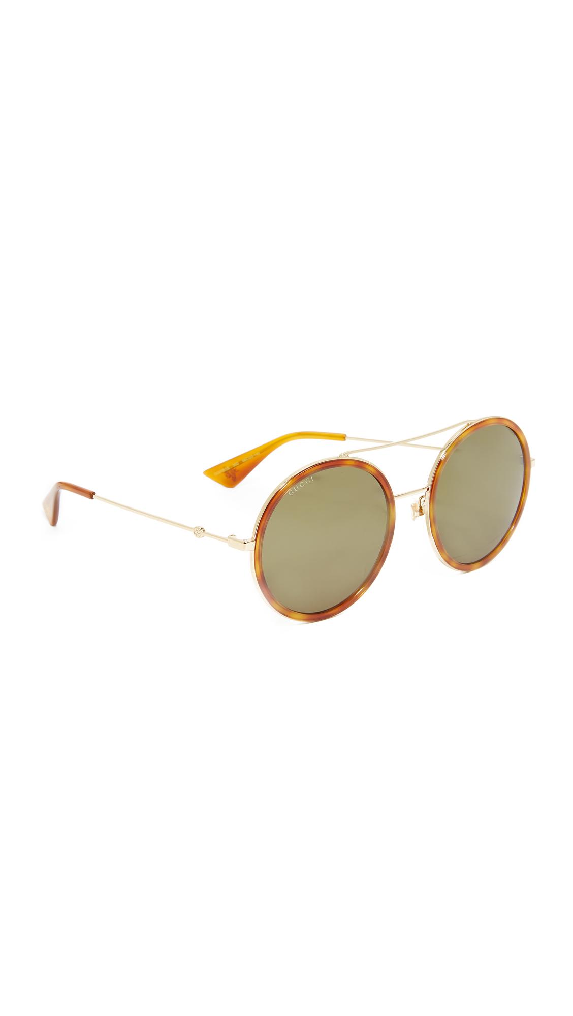 Gucci Urban Web Block Round Aviator Sunglasses - Gold/Green at Shopbop