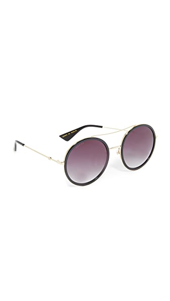 Gucci Urban Web Block Round Aviator Sunglasses - Gold/Grey