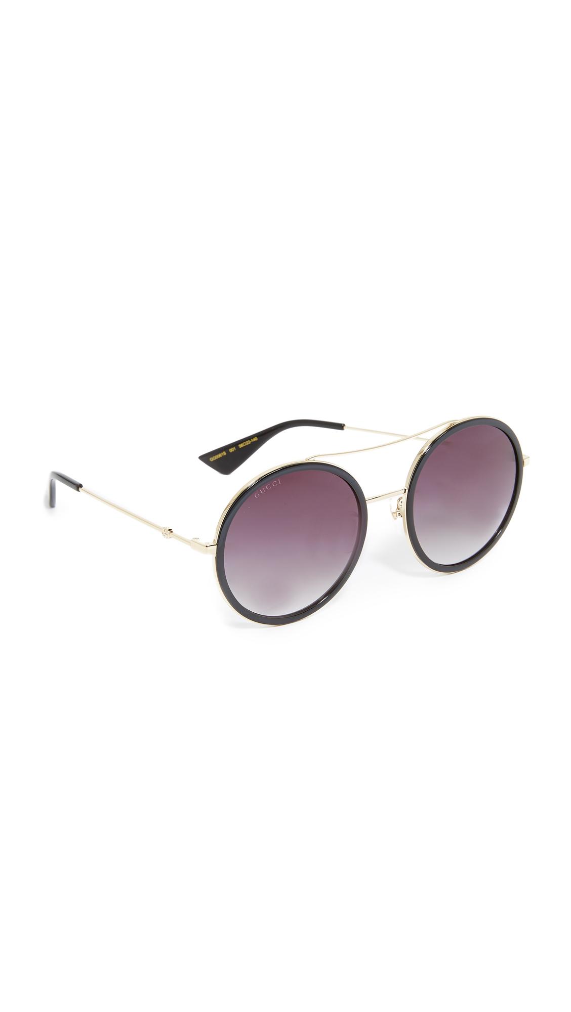 Gucci Urban Web Block Round Aviator Sunglasses - Gold/Grey at Shopbop