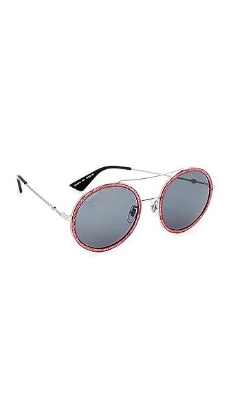 Gucci Urban Web Block Round Aviator Sunglasses - Silver Glitter Fuchsia/Blue