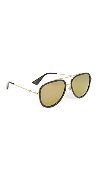 Gucci Flash Pilot Urban Web Block Aviator Sunglasses at Shopbop
