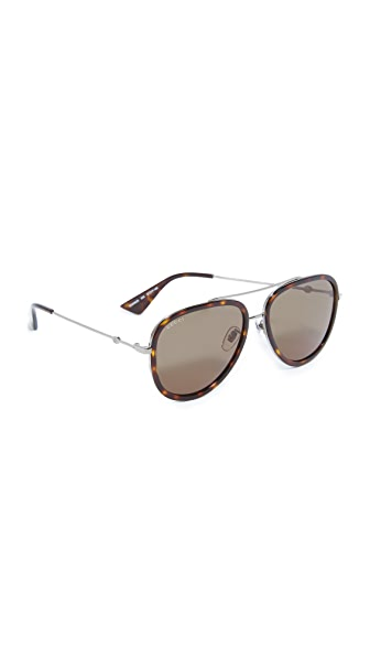 Gucci Pilot Urban Web Block Aviator Sunglasses - Ruthenium/Green