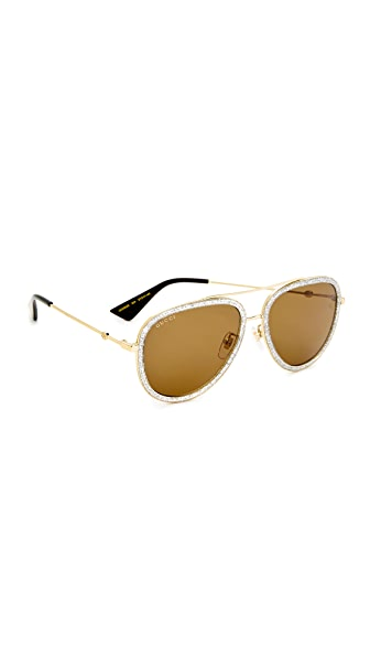 Gucci Pilot Urban Web Block Aviator Sunglasses - Gold/Brown