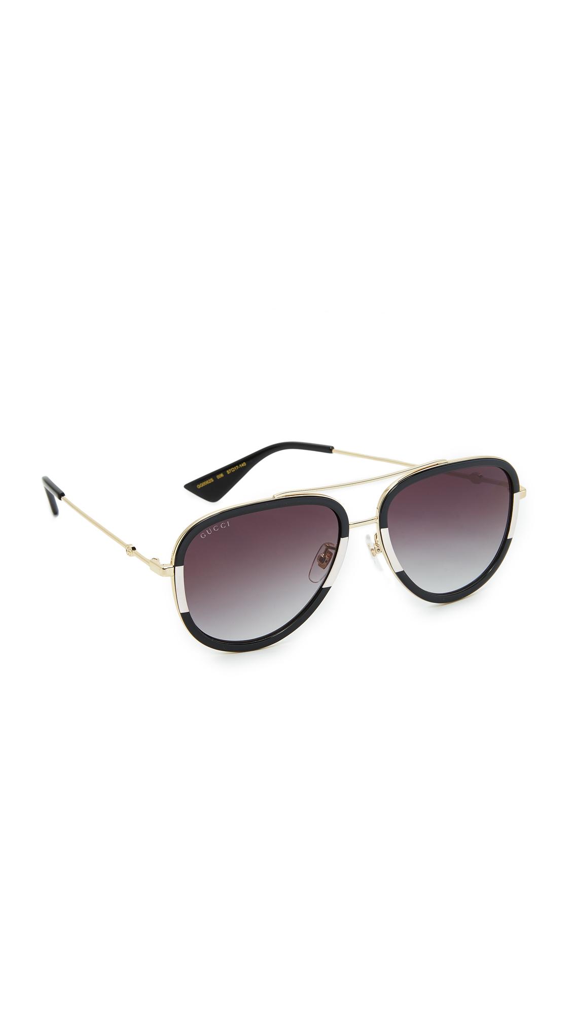 Gucci Pilot Urban Web Block Aviator Sunglasses - Gold/Grey at Shopbop