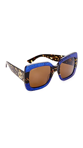 Gucci Square Urban Web Block Sunglasses at Shopbop