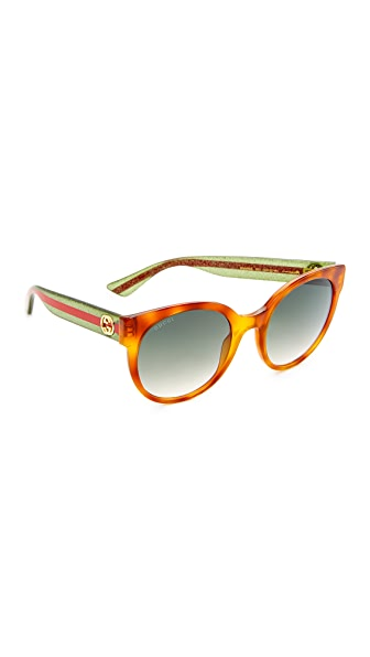 Gucci Urban Pop Round Sunglasses - Blonde Havana Glitter/Green