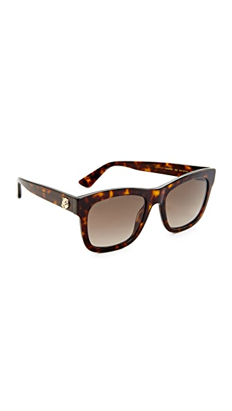 Gucci Square Tiger Sunglasses - Havana/Brown
