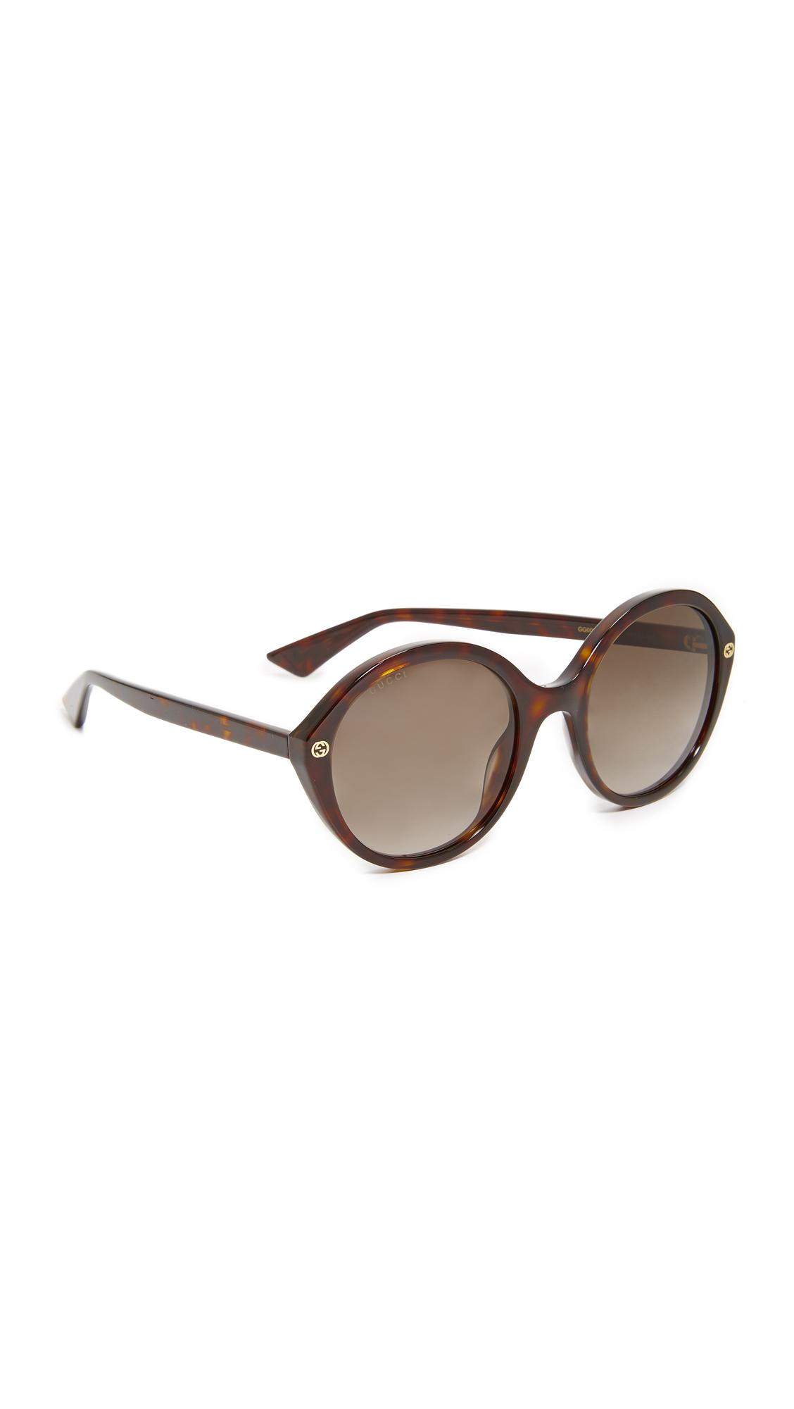 Gucci Lightness Round Sunglasses - Havana/Brown at Shopbop