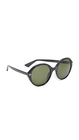Gucci Lightness Round Sunglasses - Black/Green